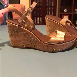 J Crew Gold Wedges size 7